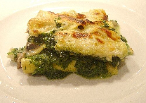 lasagne aux champignons et épinards
