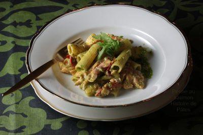 rigatoni au saumon et pesto