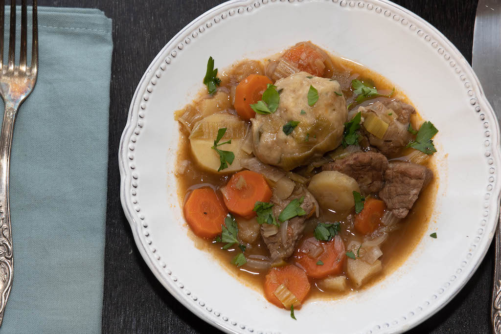 Scottish beef stew with hodgils