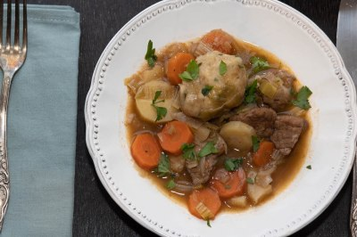 Scottish beef stew with hodgils