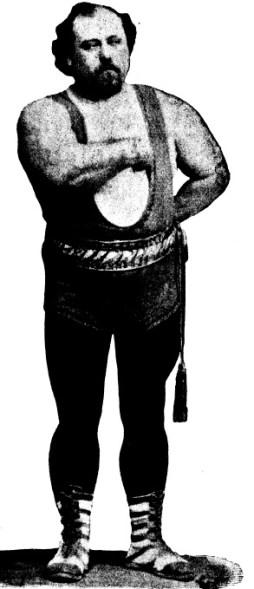 Louis Cyr. Image tirée de l'ouvrage Les rois de la Force d'Edmond Desbonnet, p. 465.