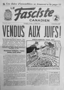 Couverture du Fasciste Canadien de février 1938, l'organe officiel du Parti Nationa-Social Chrétien d'Adrien Arcand, BAC, Fonds Ernest Lapointe, dossier fascisme 1938-1940.
