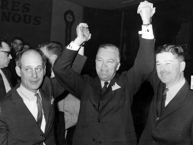 Victoire du Parti libéral de Jean Lesage aux élections de 1962. Source : Source : Archives de la Fédération des travailleurs et travailleuses du Québec (FTQ).