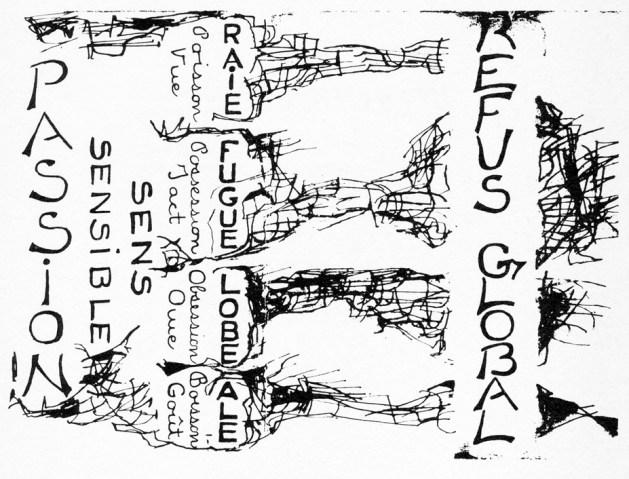 Encart/Couverture de l'édition originale du Refus global (1948). Maquette de Jean-Paul Riopelle sur un texte de Claude Gauvreau. Source : Les classiques des sciences sociales.