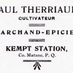 Paul Therriault, cultivateur, marchand-épicier, Kempt Station.