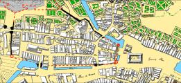 Ville-close d'après le plan de 1782. En rouge, la muraille disparue depuis 1678