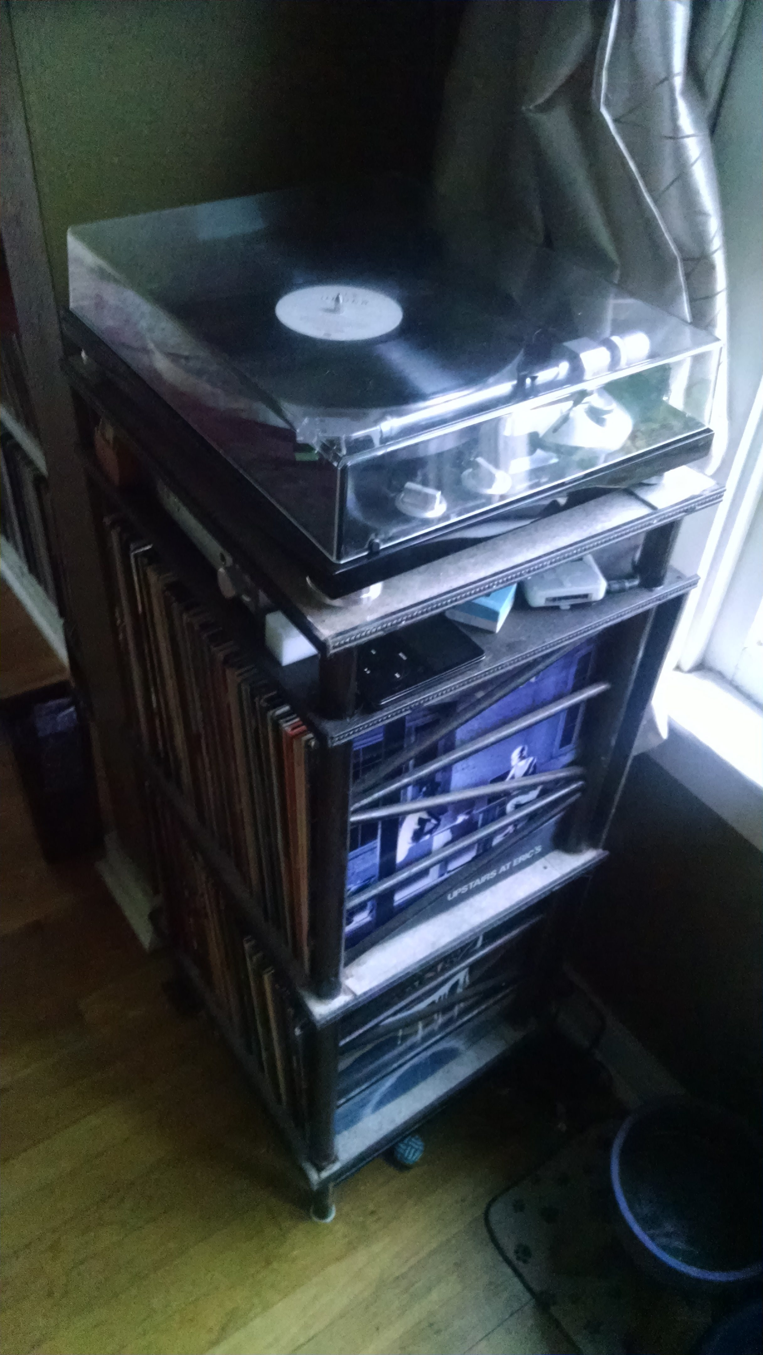 photo of a record player stand