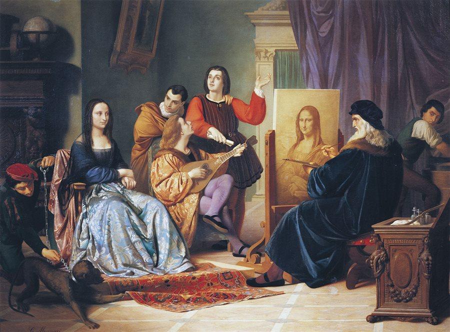 """El encuentro entre Lisa Gherardini y el pintor Leonardo Da Vinci para crear la obra """"La Mona lisa"""" durante el siglo XVI."""