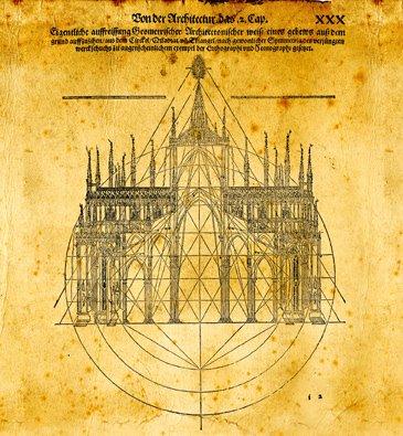 Los grandes arquitectos de la Antigüedad influyeron en los maestros del gótico. Xilografía de Peter Flotner para De architectura, de Vitrubio. 1548.