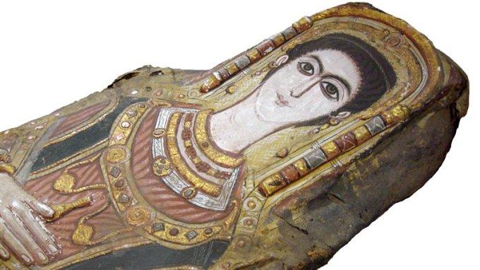 Detalle del retrato de la momia de la adolescente conservada en el Museo Egipcio de El Cairo.