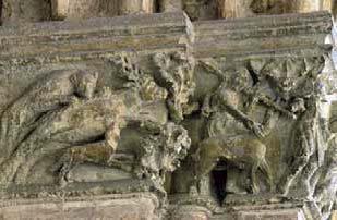 Episodio de caza. Capitel de la catedral de León.