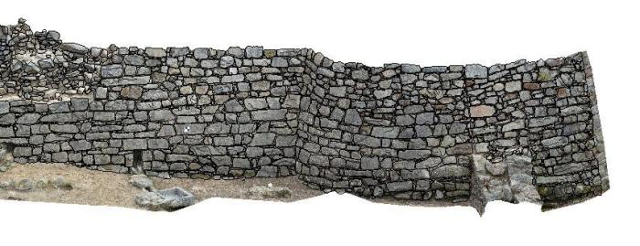 Modelo en 3 D das murallas da Rocha Forte / http://geomati-k.com