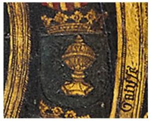 Detalle do escudo de Galicia nun tríptico de Van der Wick