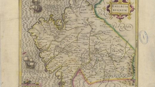 Mapa antigo de Galicia con topónimos