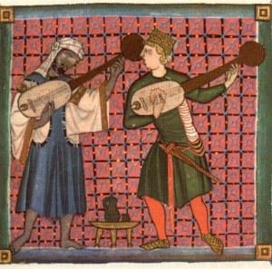 Representación de trobadores medievais, un cristiano e o outro mouro.