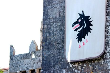 Pendóns dos Moscoso pendurados do castelo antes do asalto / foto HdG