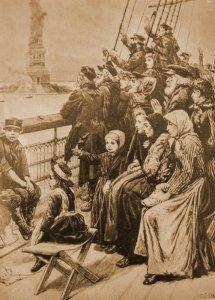 La estatua de la Libertad da la bienvenida a los refugiados de los terribles pogroms rusos del siglo XIX. (Ilustración)