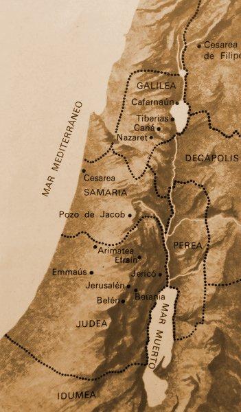 Este mapa de Tierra Santa destaca lo lugares donde Jesús practicó su ministerio durante su paso sobre por la Tierra.