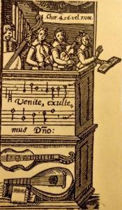 Los dos instrumentos de arco que aparecen en el grabado pertenecen a la familia del violín y datan de 1600 aproximadamente.