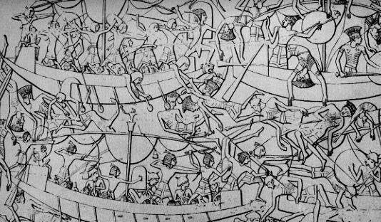 Imagen que muestra una batalla naval entre los egipcios y los pueblos del mar, consecuencia de la crisis del 1200 a.C.