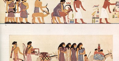Caravana de comerciantes asiáticos hapiru según un mural de la tumba de Khnumhotep III (1890 a.C.) en Beni Hasan