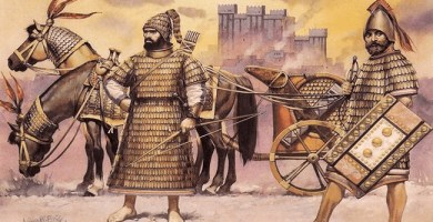 Ilustración de un posible carro de guerra y soldados hurritas de Mitanni