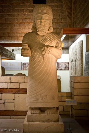 Estado actual de una estatua del rey hitita Muwatalli II, el enemigo egipcio en la batalla de Qadesh