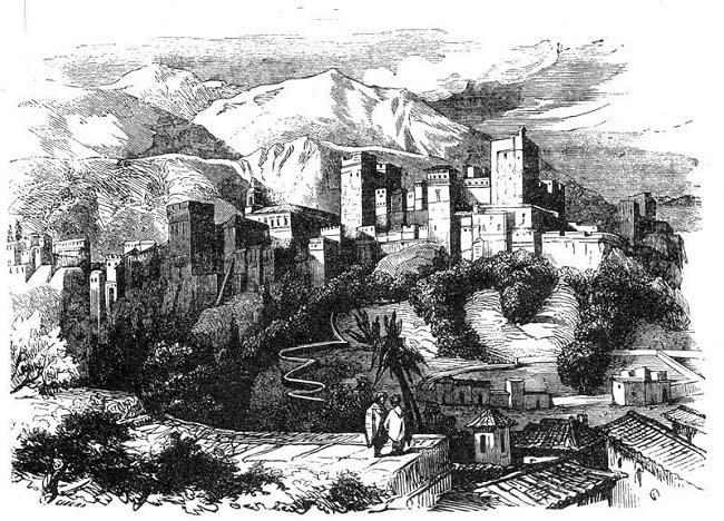 Grabado de la Alhambra de Granada, contenido en la obra Los monfíes de las Alpujarras, Manuel Fernández y González, 1859. Eleno de Céspedes luchó como soldado