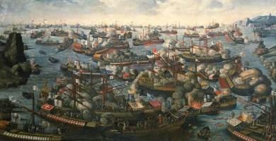 Cuadro de autor desconocido y contemporáneo a lo que representa, la batalla de Lepanto