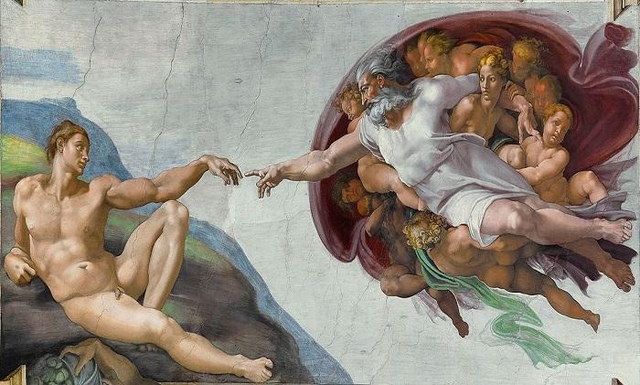 """Fresco de """"La creación de Adán"""", una de las piezas más famosas de la bóveda de la Capilla Sixtina"""