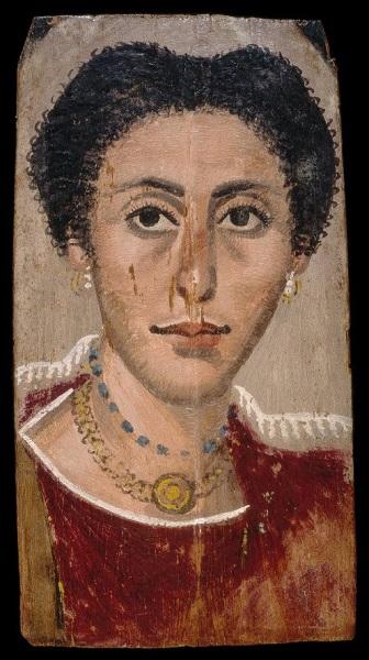 Uno de los retratos de El Fayum del periodo romano, de una mujer con joyas