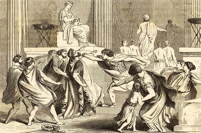 Grabado que recrea el asesinato de Filipo II por parte de Pausanias