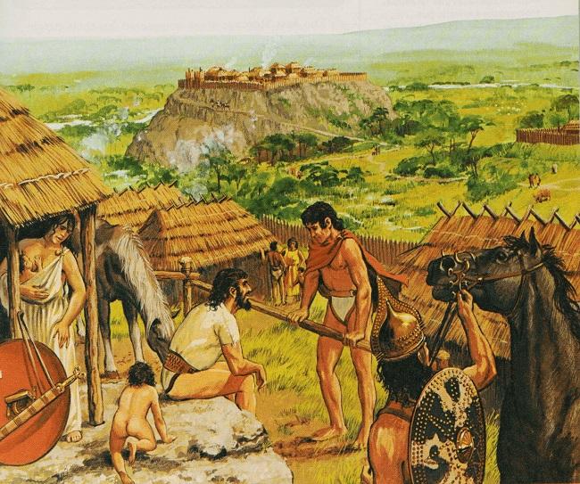 Ilustración sobre los primeros habitantes en el origen histórico de Roma hecha por el historiador Peter Connolly (Fuente: Arrecaballo)