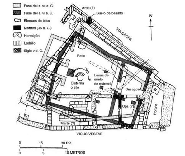 Plano de una reconstrucción de la Regia, primer edificio en el origen histórico de Roma