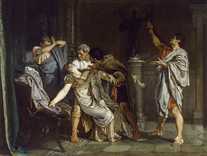La muerte de Lucrecia, obra de Eduardo Rosales hecha en el siglo XIX, recrea la muerte después de la violación de Lucrecia