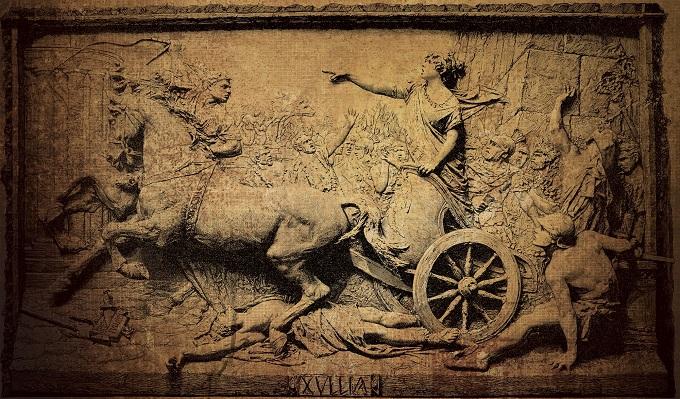 Relieve en madera que representa a Tulia pasando con su carro por encima del cadáver de su padre, uno de los reyes romanos
