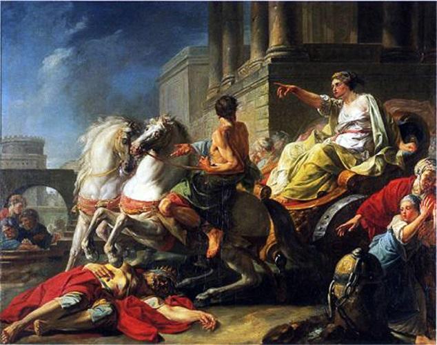 Tulia cabalga sobre el cadáver de su padre, obra de Jean Bardin hecha en el siglo XVIII sobre uno de los reyes romanos