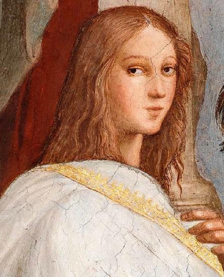 Detalle de La escuela de Atenas de Rafael Sanzio en el que se puede ver un retrato imaginario de Hipatia de Alejandría