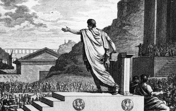 Grabado del siglo XVIII que representa a un tribuno de la plebe presidiendo una de las asambleas romanas