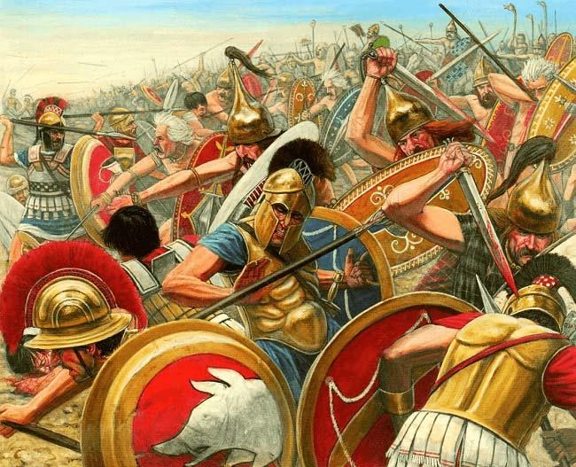 Ilustración que recrea la batalla de Alia previa a la invasión de los galos, por el autor Seán Ó´Brógáin