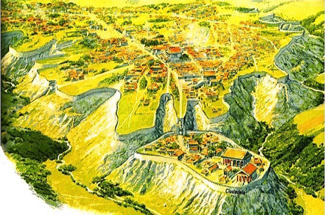 Reconstrucción de la ciudad de Veyes hacia el año 400 a.C., por el autor Peter Connolly