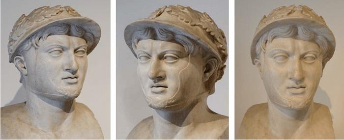 Busto de Pirro, rey del Épiro y aliado de Tarento, encontrado en Herculano