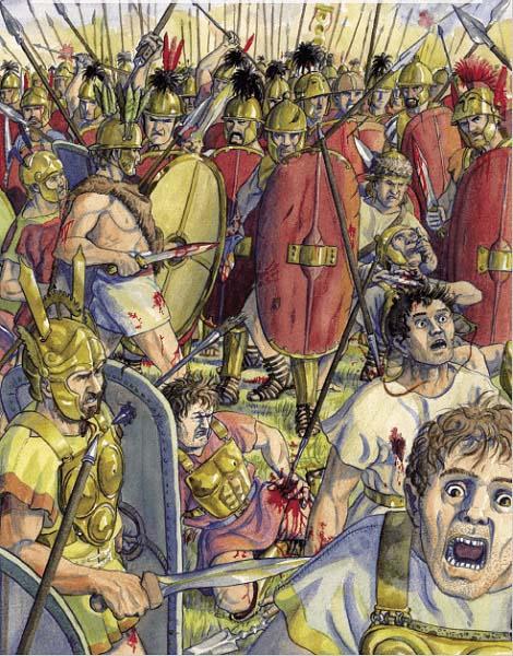 Ilustración que recrea la batalla de Sentino, en las guerras samnitas