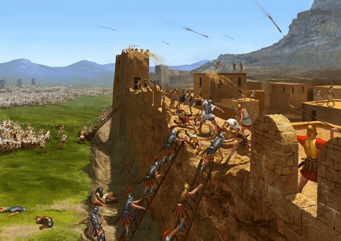 Ilustración que recrea el asedio a la fortificación de Érix durante la campaña de Pirro en Sicilia