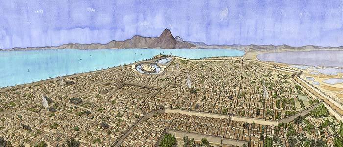 Panorámica que recrea el aspecto global de la metrópolis púnica, objeto del conflicto entre Roma y Cartago
