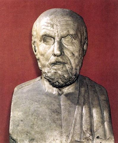 Busto de Hipócrates de Cos, impulsor de la medicina griega