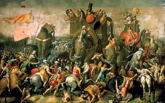 Ilustración de Cornelis Cort (s. XVI) que recrea la batalla de Zama durante las Guerras Púnicas