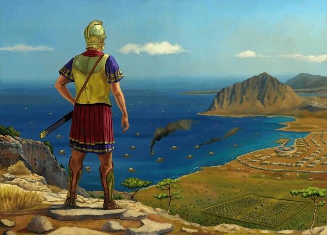 Ilustración que recrea a Amílcar Barca en Sicilia durante la Primera Guerra Púnica