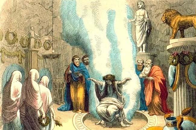 Ilustración que recrea a un oráculo griego en pleno trance extático, listo para escuchar los designios de los dioses y ejercer la medicina griega