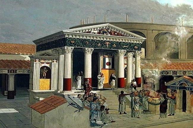 Uno de los sacrificios romanos frente al templo de Isis en Pompeya